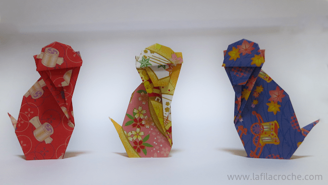 Singe en origami traditionnel