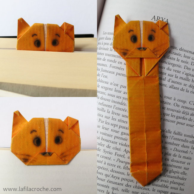 Marque pages chats en origami la filacroche - Origami chat facile ...