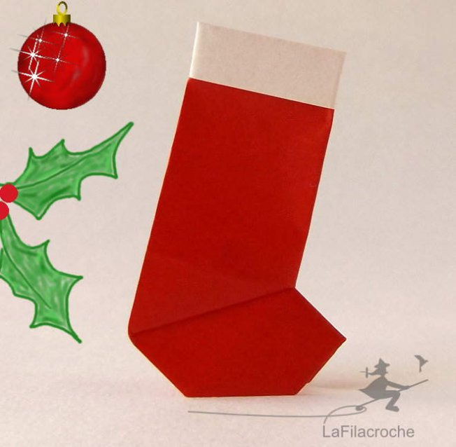 Botte de Noël en origami traditionnel