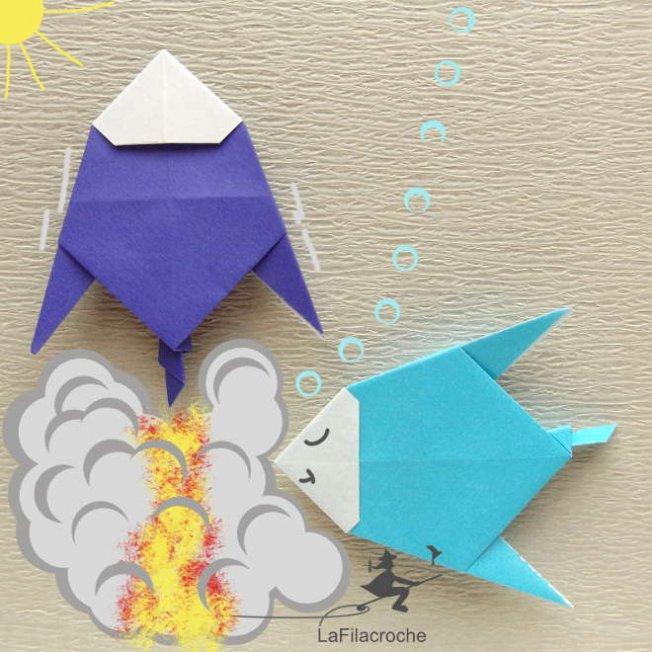 le poisson fus e marque place en origami la filacroche. Black Bedroom Furniture Sets. Home Design Ideas