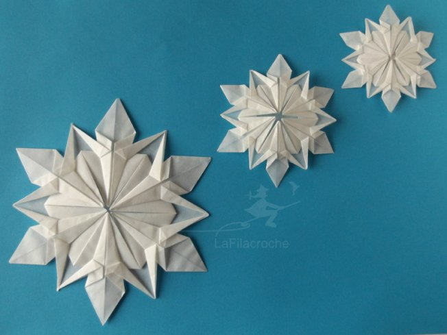 Flocon de neige en origami la filacroche - Flocon de neige en papier origami ...