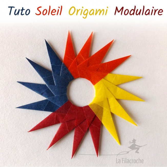 Soleil modulaire en origami traditionnel