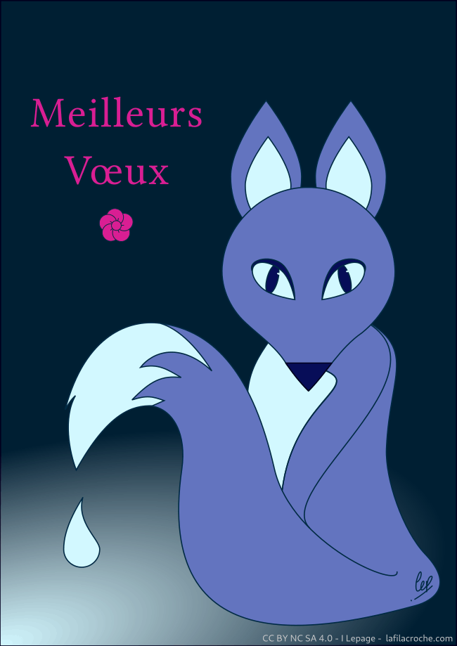 Vœux illustration renard bleu