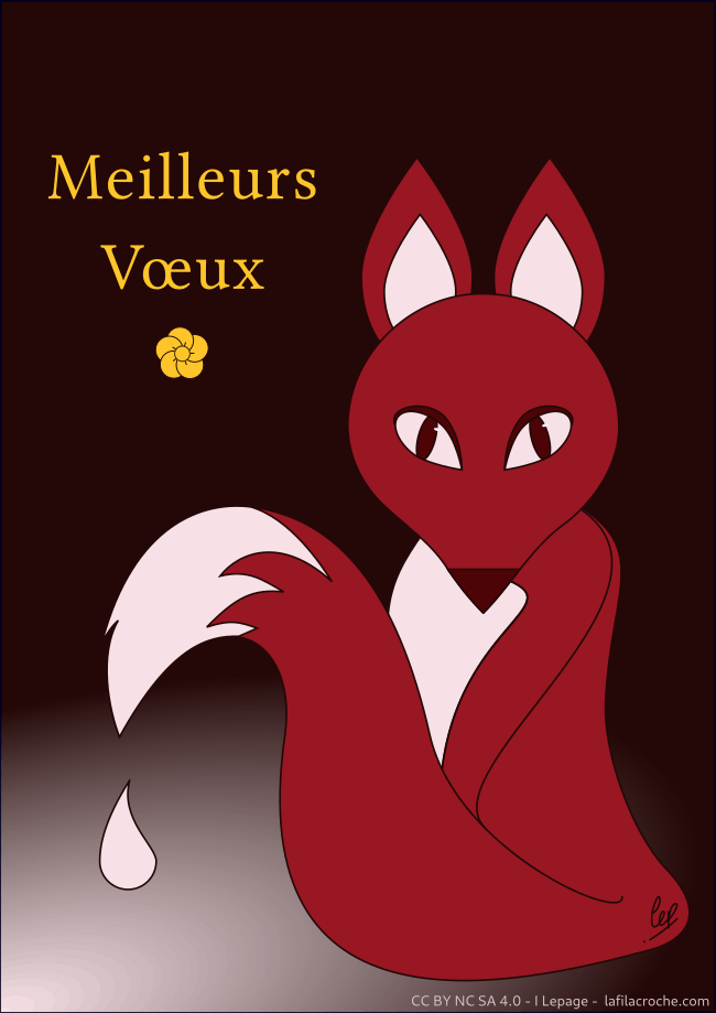Vœux illustration renard rouge